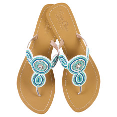 Juliet leather sandals in turquoise/white