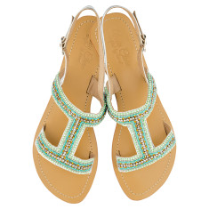 Emily leather sandals in mint/turquoise