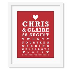 Personalised wedding art print