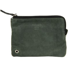 Anthracite suede recycled leather zip pouch