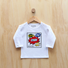 Boys' personalised Super Comic long sleeve t-shirt