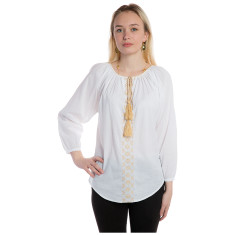 Embroidered cotton shirt with tassels