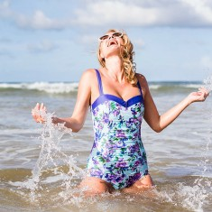 Lizzie sweetheart swimsuit in bold purple floral