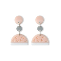 Confetti drop earrings in blush, white, grey