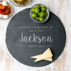 Personalised dining together round slate board