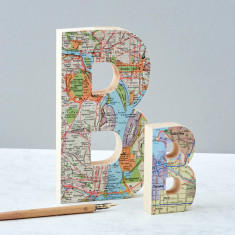 Personalised map location wooden letter