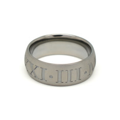 Black Rhodium Silver Roman Numeral Ring