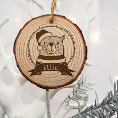 Personalised Woodland Bear Christmas Tree Decoration