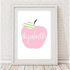 Personalised apple pastel name print