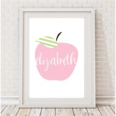 Personalised apple pastel name print