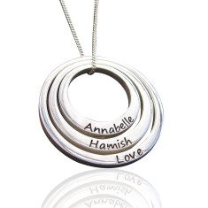 Personalised set of three sterling silver circle pendants