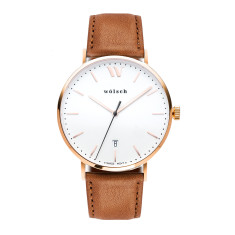 Versa 40 Watch In Rose Gold with Tan Band