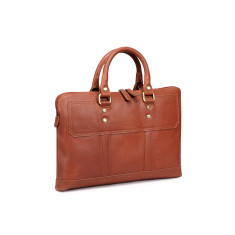 TheCultured Leather Slim Laptop Bag In Tan