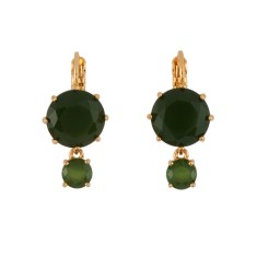 Round stones French hook earrings – forest green diamantine