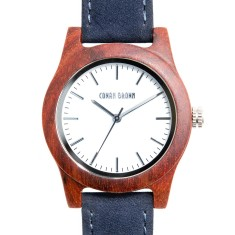 Taylor red sandalwood and blue suede watch