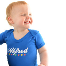 Personalised Baby Grow Vest In Blue