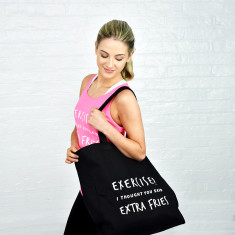 Exercise extra fries gym tote bag