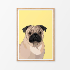 Pug illustrated print (various colours)