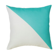 Split cushion cover in aqua or yellow