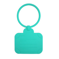 Suitcase luggage tag in aqua