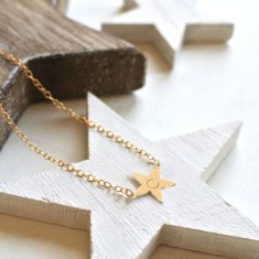 Personalised Gold Little Shining Star Initial Necklace