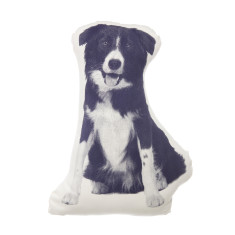 Areaware fauna cushion small border collie in navy