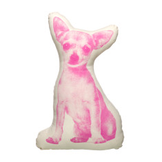 Areaware fauna cushion small chihuahua in pink
