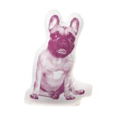 Areaware small French bulldog fauna cushion in maroon
