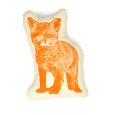 Areaware pico fox fauna cushion in orange