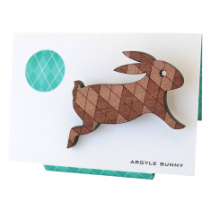 Argyle bunny engraved wooden brooch