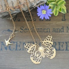 Ariane gold large filigree butterfly necklace