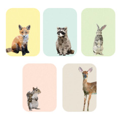 Geometric Woodland animals art prints (set of 5)