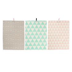 Assorted tea towels mint rosa (set of 3)