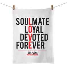 Love personalised typographic tea towel