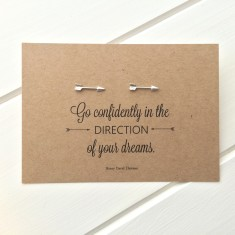 Literary quote arrow earrings