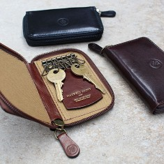 The Vinci Personalised Italian Leather Zipped Key Case