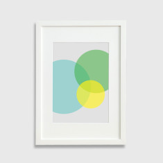 Circles framed print in multicolour