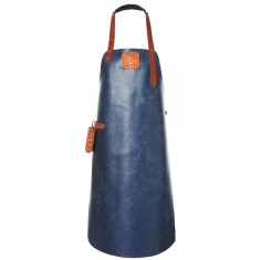 Personalised Handmade Dutch Leather Apron in Navy with Cognac Details