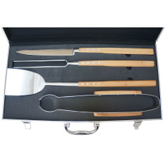 Laguiole by Louis Thiers artisan 4-piece barbecue set with bamboo handles