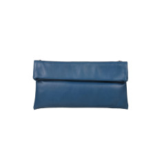 Small Leather Clutch Bag in Blue