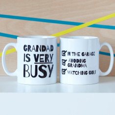 Personalised Very Busy Grandad Mug