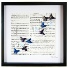 Music freedom in blue framed art work