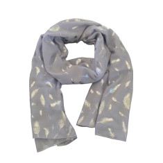 Silver foil feather scarf in grey