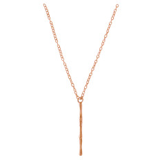 Vertical Bamboo Necklace in Rose Gold Plate