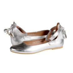Girls' ankle strap ballet shoes in silver