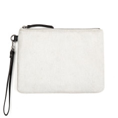 Fixation leather wallet in arctic fur