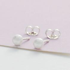 Kids' sterling silver glass pearl studs