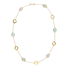 Gemstone necklace with gold plating