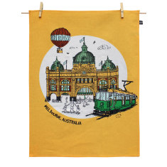 Melbourne Flinders St Station tea towel
