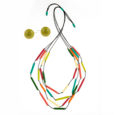South Pacific tubular necklace & earring set in multi